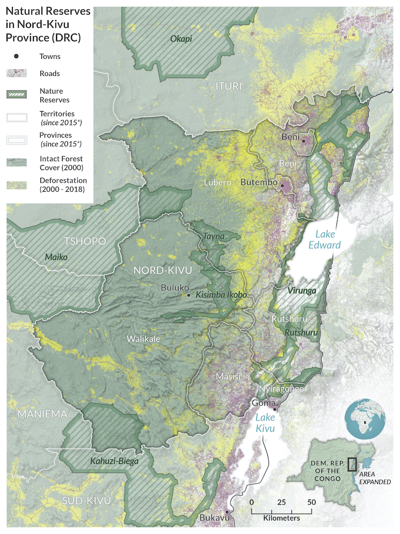 A map of eastern DR Congo shows an area of deforestation in yellow extending north and south. To the west in pink are urban areas including the cities Butembo, Beni, and Goma. To the east of the deforestation are more heavily forested areas including Tayna Nature Reserve.
